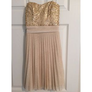 Gold and champagne sequin/glitter homecoming dress